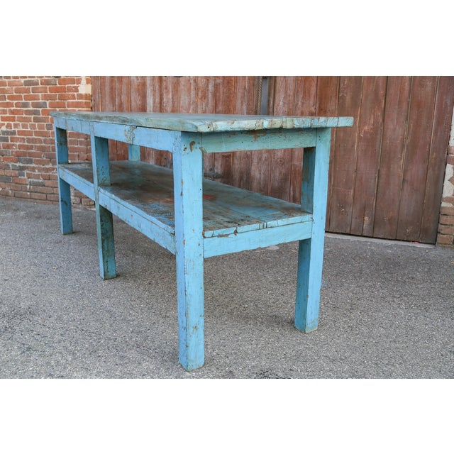 Colonial Blue Farmhouse Kitchen Table For Sale - Image 4 of 7