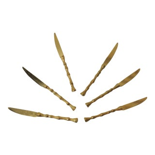 Set of Six Faux Bamboo Gold-Plated Vintage Spreading Knives For Sale