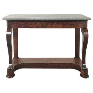 19th Century French Louis Philippe Marble Top Mahogany Console For Sale
