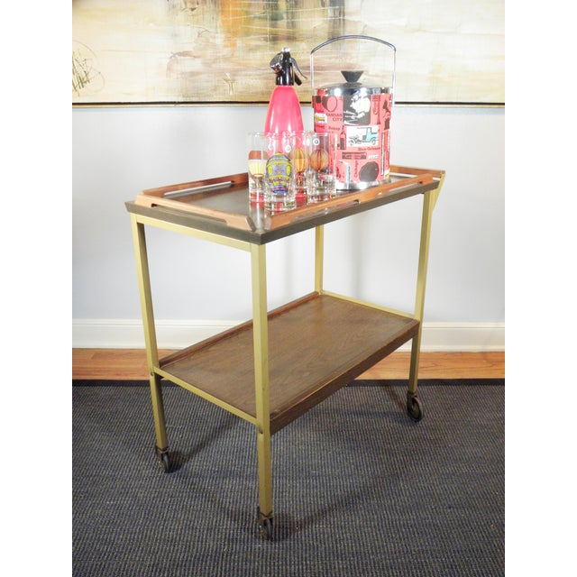 Mid-Century Wood Tray Bar Cart - Image 4 of 5