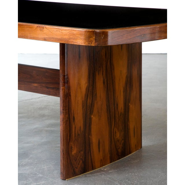Mid-Century Modern Soft-Edged Rectangular Dining Table in Rosewood With Black Underpainted Glass Top and Curved Legs For Sale - Image 3 of 9