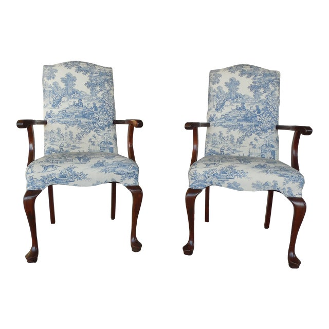 Blue Toile Arm Chairs - A Pair - Image 1 of 10