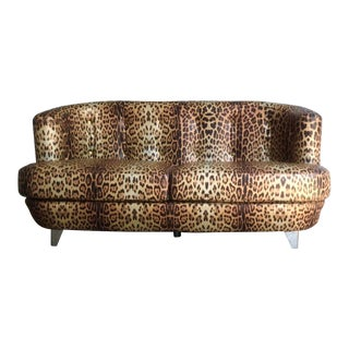 Roberto Cavalli Leopard Print Loveseat For Sale