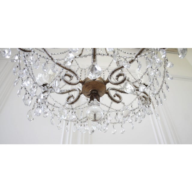 Antique French Beaded Arm Chandelier For Sale - Image 4 of 9