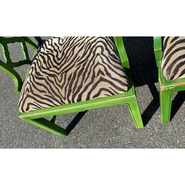 Textile Vintage Hollywood Regency Green Pagoda Chairs with Zebra Fabric - a Pair For Sale - Image 7 of 13
