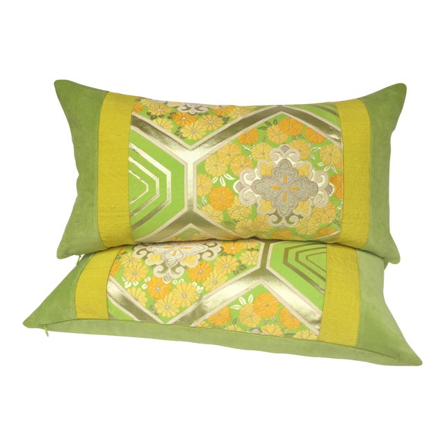 Green Japanese Obi Pillows - A Pair - Image 1 of 4