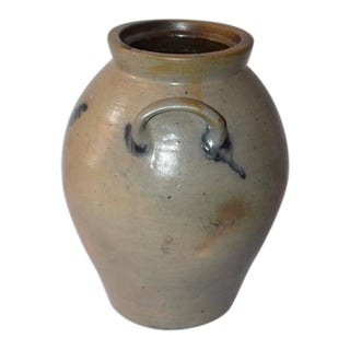 19th Century Original Blue Salt Glaze Decorated Stoneware Jar For Sale