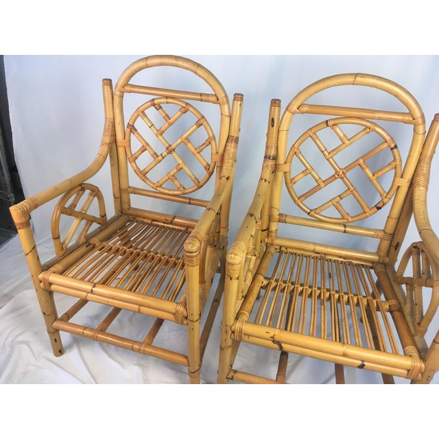 Chippendale Vintage Chippendale Rattan Chairs - a Pair For Sale - Image 3 of 9