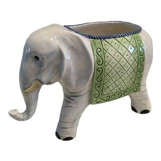 Modern Italian Ceramic Elephant Planter For Sale