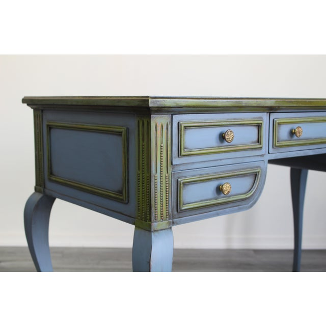 Blue Mid Century Blue Painted Desk For Sale - Image 8 of 10