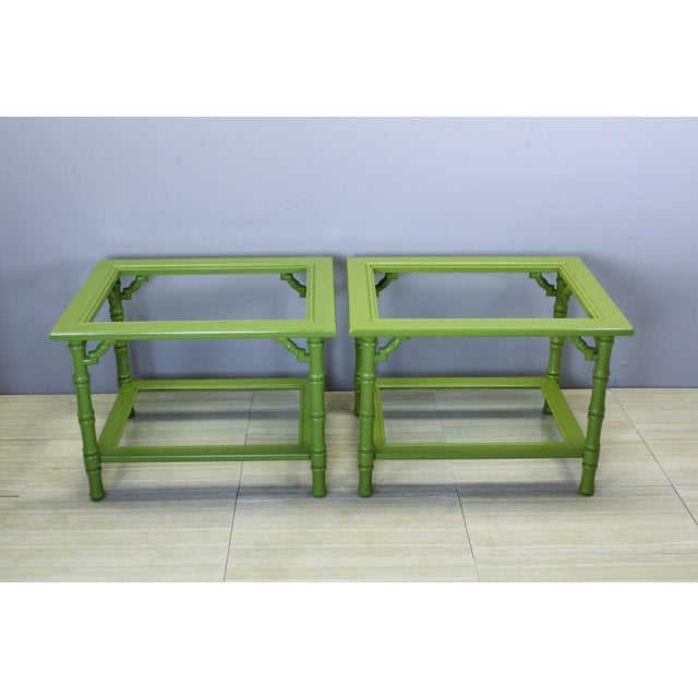 Green Lacquered Side Tables - A Pair For Sale - Image 9 of 9
