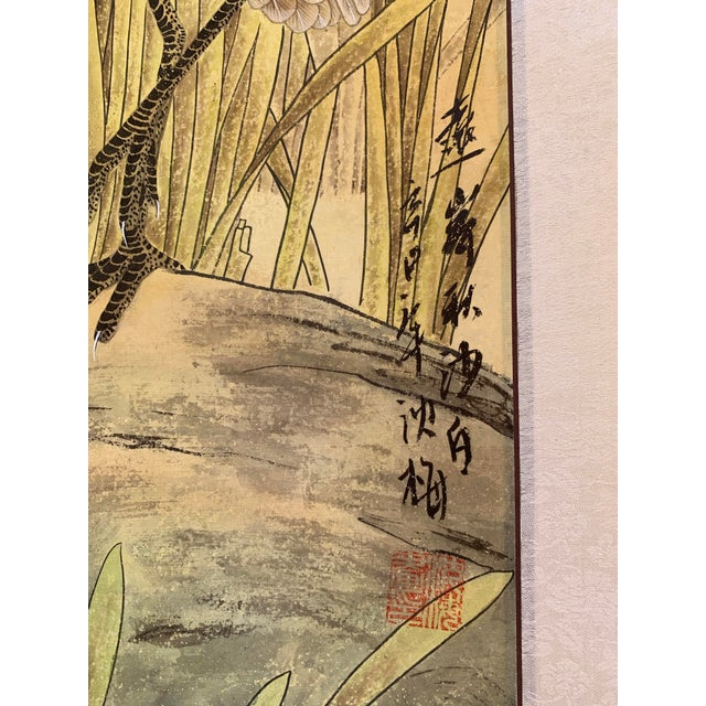 "1970s 1970s Vintage ""Two Egrets in Bushes"" Chinese Scroll Painting For Sale - Image 5 of 6"