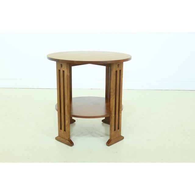 Brown Stickley Round Mission Oak Occasional Lamp Table For Sale - Image 8 of 8