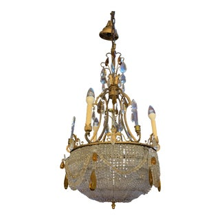 Antique French Victorian Chandelier With Crystal Beaded Bowl For Sale