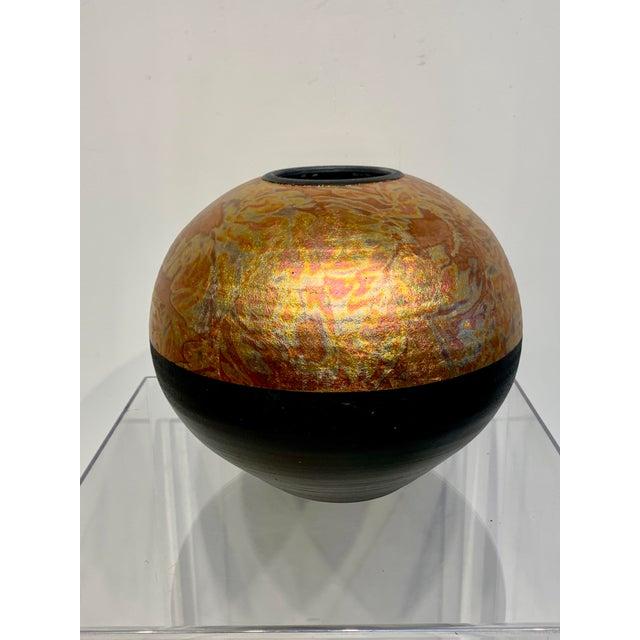 1980s Southwestern Ceramic Raku Vase by Michael Weinberg For Sale - Image 11 of 11