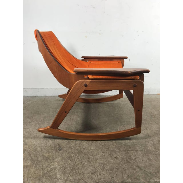 Wood Rare Jerry Johnson Midcentury Walnut Sling Rocking Chair 1960s For Sale - Image 7 of 9