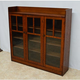 20th Century Mission Style Oak 3-Door Bookcase Preview