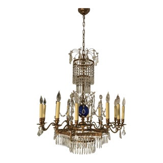 Baltic Style 12 Light Bronze Dore' and Crystal Chandelier For Sale