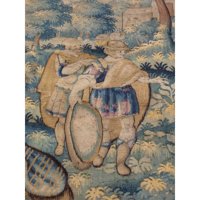 Antique Flemish Tapestry of Soldier Back From a Battle For Sale - Image 10 of 12