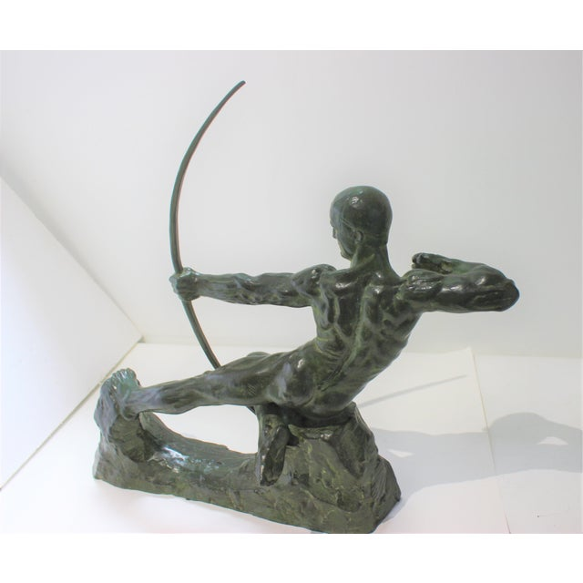 Green Art Deco Bronze Sculpture Hercules the Archer by Victor Demanet 1925 For Sale - Image 8 of 13