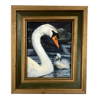 Mid 20th Century White Swan & Baby in the Water Signed Framed Oil Painting For Sale