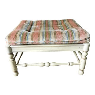 Vintage French Provincial Upholstered Foot Stool by Ethan Allen