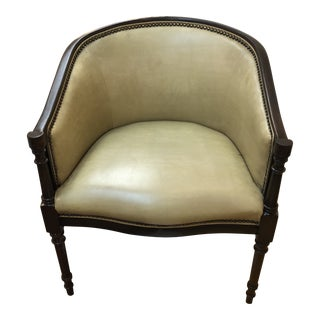 Vintage as Found Green Leather Armchair With Nailhead Detail For Sale