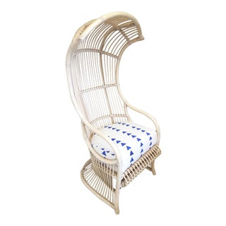 1970s Bent Rattan Ivory Canopy Chair by Henry Oiko for Willow and Reed For Sale