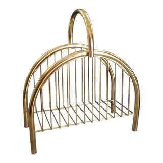 Mid-Century Brass Arch Magazine Rack For Sale