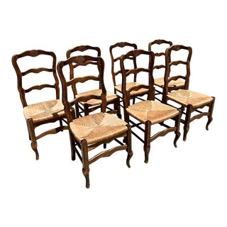 French Rush Seat Ladder Back Chairs - Set of 7