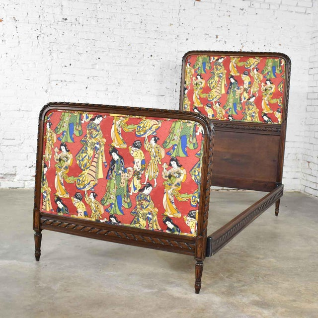 Antique French Carved Walnut and Upholstered Twin Bed With Asian Figural Fabric For Sale - Image 4 of 13