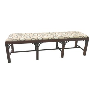 Vintage Asian Style Eight Leg Bench with Streachers