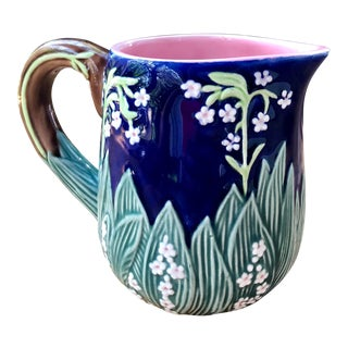 20th Century Cottage Floral Art Nouveau Majolica Style Ceramic Faience Pitcher For Sale