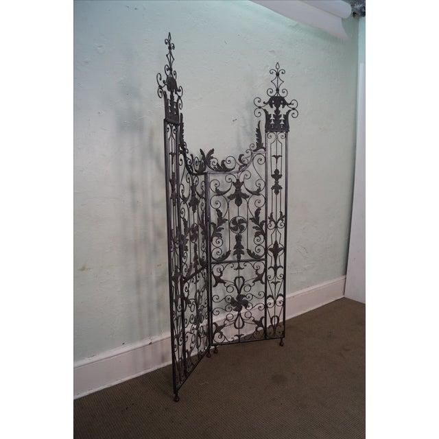 Maitland Smith Ornate Iron & Bronze Rococo Screen - Image 9 of 10