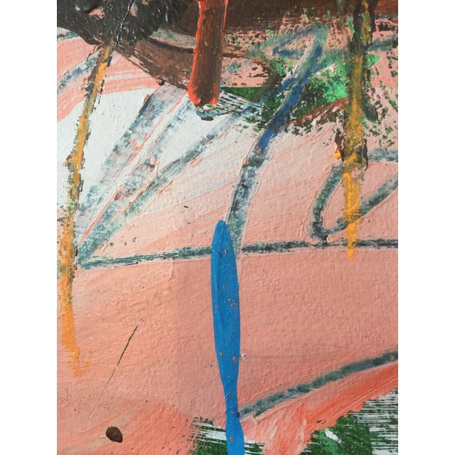 1970s Berkeley Artist Vannie Keightly Mixed Media Abstract Painting - Image 7 of 8