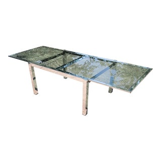 Chrome and Smoked Glass Extendable Dining Table For Sale