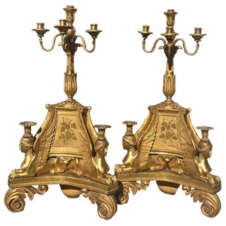 Pair of 18th Century Swedish Neoclassical Giltwood Candelabra For Sale