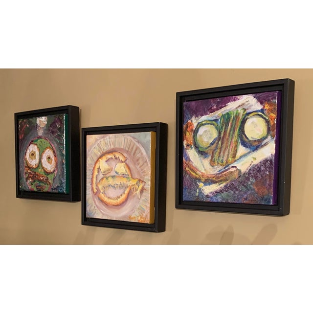 """Illustration """"Breakfast, Lunch, and Dinner"""" Contemporary Still Life Oil Paintings, Framed - Set of 3 For Sale - Image 3 of 5"""