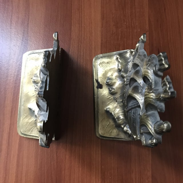 Vintage Brass Schooner Ship Nautical Bookends - a Pair For Sale In Saint Louis - Image 6 of 10