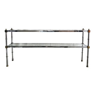 Mid-Century Modern Maison Jansen Style Chrome and Brass Console Table For Sale