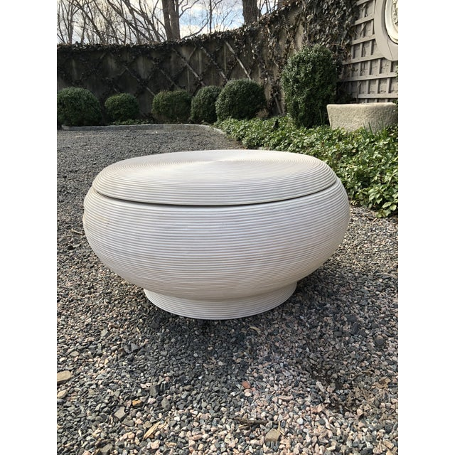 Unique white washed rattan coffee/cocktail table in the style of Gabriella Crespi. Similar to Crespi's other designs, the...