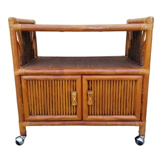 Mid-Century Bamboo Rattan Rolling Bar Cart For Sale