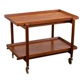 Gorgeous Expanding Danish Teak Bar Cart by Poul Hundevad With Removeable Trays For Sale