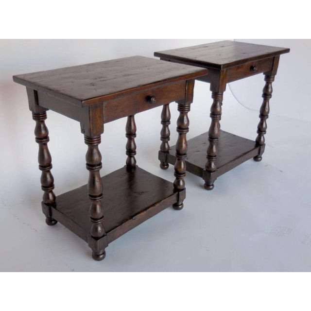 Spanish Pair of Custom Walnut Side Tables/Nightstands with Turned Legs, Drawer and Shelf For Sale - Image 3 of 8
