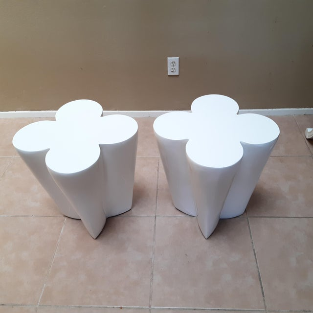 Contemporary Lacquered Clover Leaf Side Tables - a Pair For Sale In Houston - Image 6 of 6