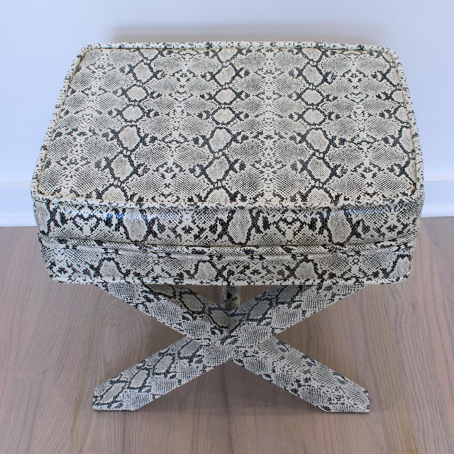 Billy Baldwin Style Python Leather X-Bench Ottoman Footstool For Sale - Image 10 of 13