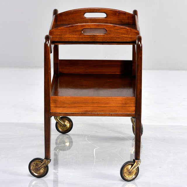 1950s Mid-Century Italian Walnut Trolley With Removable Tray For Sale - Image 5 of 13