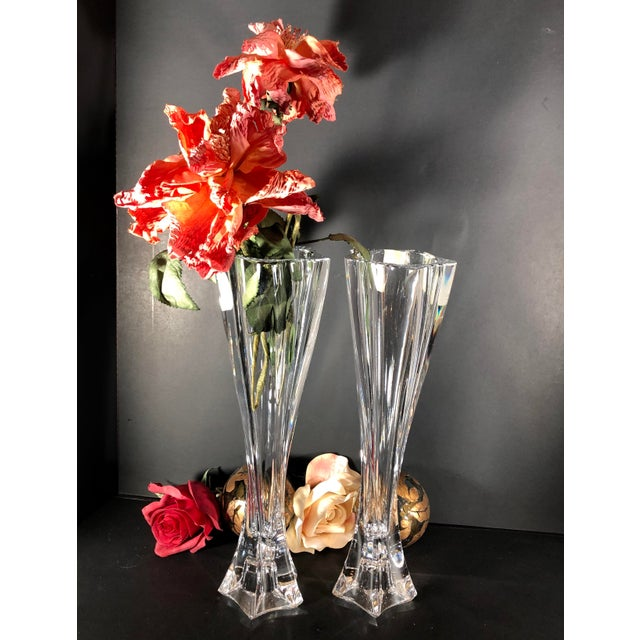 """Mikasa Mikasa 12"""" Tall Pacific Wave Candle Holders Traditional Taper/Vases Crystal - Set of Two For Sale - Image 4 of 13"""