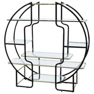 Mid Century Modern Circular Milo Baughman Etagere Brass & Glass Shelves For Sale