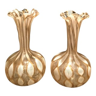 Murano Bud Vases Bronze & White Latticino - a Pair For Sale